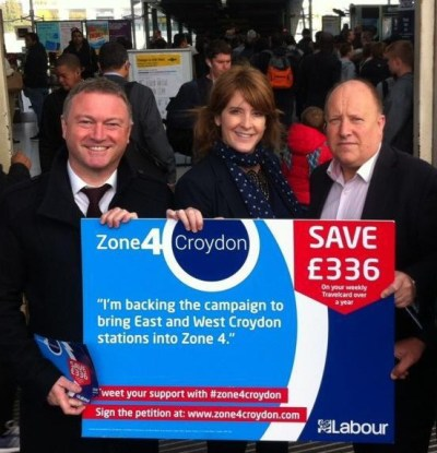 Labour gets in the zone: Steve Reed OBE, Sarah Jones and a local council alickadoo launching the re-zoning campaign that overlooked South Croydon Station, but it isn't a stunt