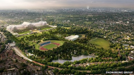 It was shortly after this artist's impression of the new-look Crystal Palace Park was drawn that ZhongRong decided they wanted rid of the athletics stadium. Possibly