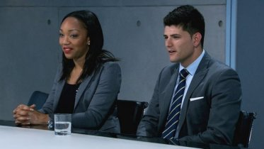 Croydon businesswoman Bianca in the Apprentice boardroom with Mark Wright. Who will be hired?
