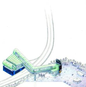 "Another of the ""silly ideas from the 1990s"": this appears to be a indoor ski run from a car park and across the Croydon Flyover in Waddon"