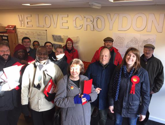 Same day, same schtick, different political party: this was Sarah Jones's canvassing group pic from last weekend. Only two people in this photo are not paid Labour councillors -