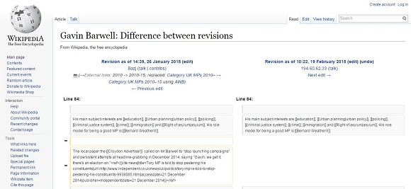 The Barwell Wikipedia entry changes, which got spotted this morning