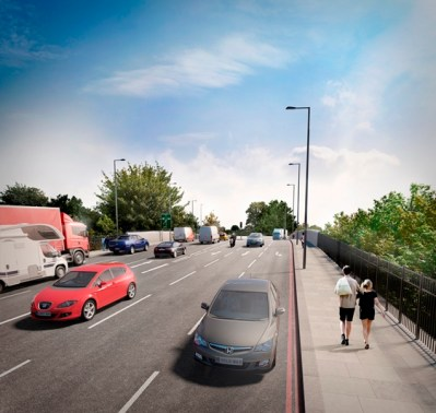"""The proposed bridge at Waddon Station. Count the lanes of traffic. Play """"Spot the Cycle Lane"""""""