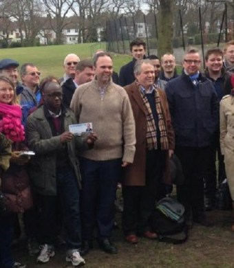 Tory MP Gavin Barwell, centre, out delivering leaflets yesterday with chief whip Michael Gove (in spectacles, to right of the picture)