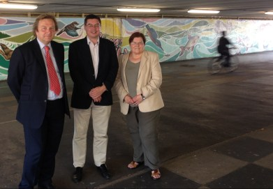 Waddon councillors (from left) Andrew Pelling, Robert Canning and Joy Prince: they may soon have even more flyovers to stand under