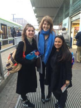 Sarah Jones, centre, with supporters at 7am outside East Croydon Station, the start of her 24-hour trek around the constituency