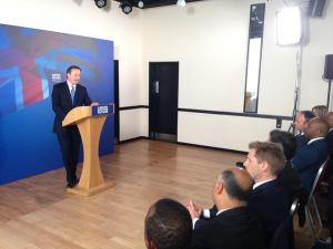 Tory leader (for now) David Cameron adressing his hermetically sealed audience in Croydon this morning