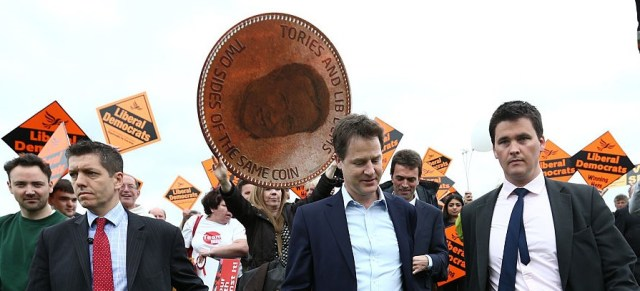 Deputy PM Nick Clegg in retreat, rather than taking part in a carefully stage-managed photo op at St Helier Hospital today