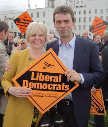 The clearly awe-struck Gill Hickson, the LibDem candidate in Croydon South, at yesterday's rally with Tom Brake. She didn't say whether she asked him for his autograph