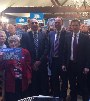 "Anne Piles, front left, ""Backing Barwell"" at the start of the election campaign with Croydon's three Tory parliamentary candidates - Vidhi Mohan (North), Barwell and Chris Philp (South)"