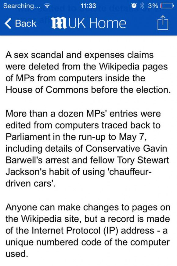 How the Mail Online has misreported MP Gavin Barwell's Wiki editing habit today