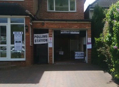 Polling stations, suburban Croydon style, in Croham Valley Road today