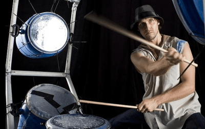 Rubbish drumming: Ben Walsh's drum kit is made from re-cycled materials