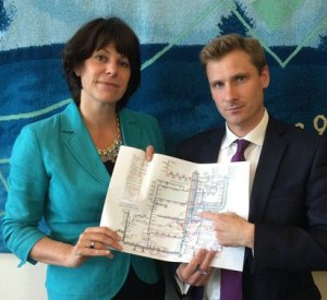 Croydon South MP Chris Philp points out where the rail problems are to minister Claire Perry