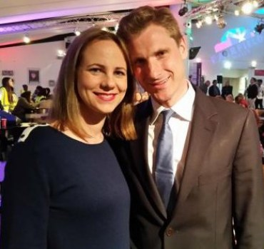 Chris Philp with his wife, Elizabeth, on election night: he couldn't live on £7.20 per hour