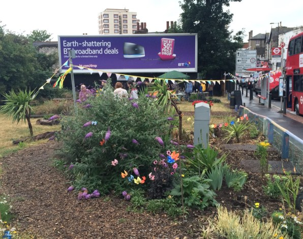 The scene in the Sensible Garden in South Norwood at the weekend, as celebrations were held to mark the first anniversary of the transformation of a bit of scrub into a public space