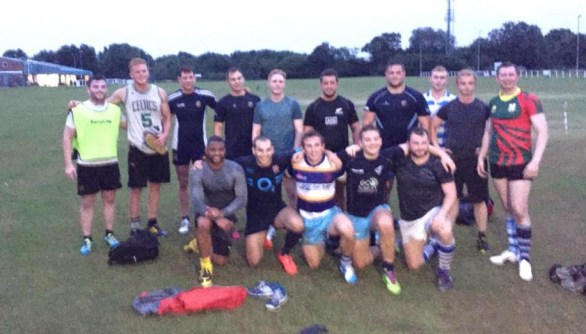 JB Gill, front row left, pictured after last night's Warlingham training session