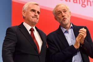 John McDonnell with the Labour leader Jeremy Corbyn in Brighton today: much of their economic policy has been drafted in Croydon