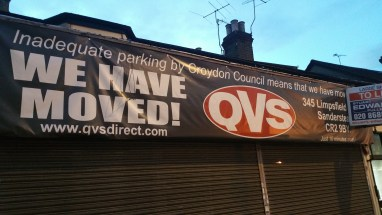 The writing's on the banner for Croydon Council