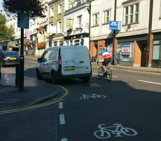 It is not just spy cars which are badly parked: this council enforcement van was spotted on the High Street, near the Town Hall, last week, on a yellow line during restricted hours, blocking off the cycle lane