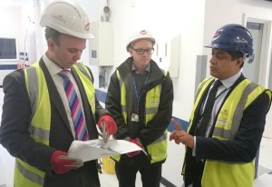 Local MP Gavin Barwell, left, won't have use for his hard hat for photo ops for at least 18 months