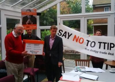 Chris Philp, Croydon South's MP, told campaigners he would vote against TTIP