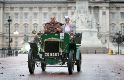Sir Steve Redgrave, the four-time Olympic gold medallist, and Lady Anne setting off in last year's London to Brighton Veteran Car Rally. The 2015 run is this Sunday