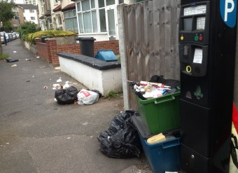 What a load of rubbish: Croydon's streets have less frequent rubbish collections and have streets swept less often, too, due to Tory cuts