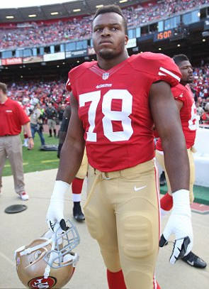 Sidelined: After two and a bit seasons in the NFL, Lawrence Okoye is yet to take to the field for his first game