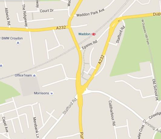 Fiveways and the A232 junction with the A23. TfL wants to re-route Denning Avenue away from the junction, to join the A23 further north