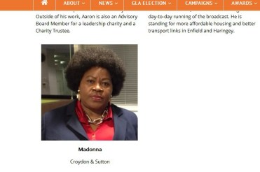 Drawing a blank: the APP candidates' page lacks any information about their candidate for Croydon and Sutton, even her surname