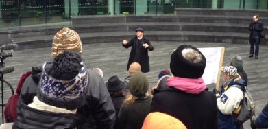 Croydon comedian Mark Thomas campaigning against the misuse of public space at the demonstration outside City Hall on Saturday. He'll need to lead similar protests on North End soon enough