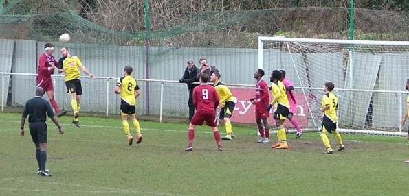 Derby day action from Saturday game at Mayfield Road. Visitors Croydon FC are in their yellow change kit