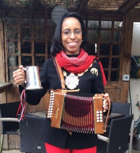 Mayor ofCroydon Patricia Hay-Justice with her Morris tankard and a melodeon belonging to band leader, Jacky Lowles.