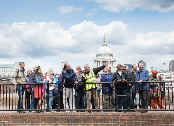 TfL Sponsored Spring into Summer walking weekend, organised by Walk London.  Tales from the Riverbank - Waterloo to London Bridge.  St Paul's Cathedral. Walk Leader Neil Sinclair. May 30, 2015. Photo: Eleanor Bentall Tel: 07768 377413