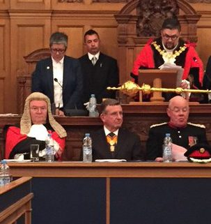 Jo Negrini, back row left, after being installed as interim CEO at the borough's Mayor Making a fortnight ago