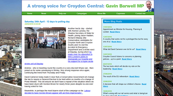 Gavin Barwell's website from April 2010 calling for General Elections to be held when the party of Government selects a new leader