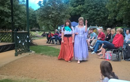 Shakespeare in the park: is Anna Howard as Hero and the other is Sarah Block as Margaret.