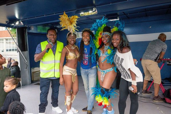 Councillor Callton Young, left in the hi-viz jacket, one of the organising committee, took time to thank all those involved in this year's Thornton Heath Festival. Photo: Lee Townsend