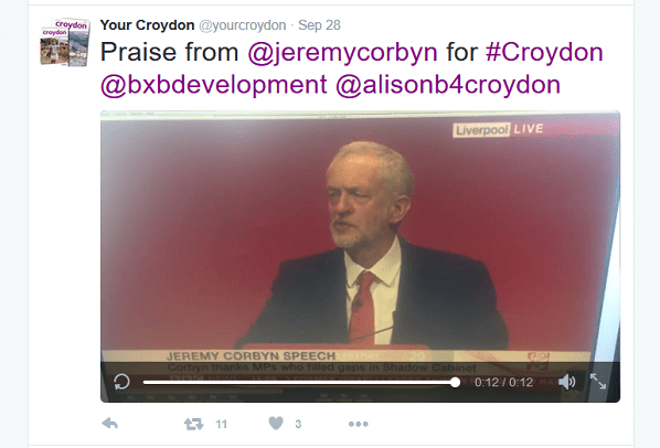 Someone in the press office has suffered a lapse in judgement, posting a video clip from the Labour leader's speech which mentions Croydon, and an overtly political message