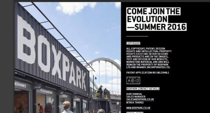 Boxpark's marketing bumpf for potential traders. Shame about that opening date...