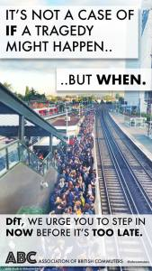 The Association of British Commuters' poster, featuring overcrowded platforms at East Croydon Station, circulated today