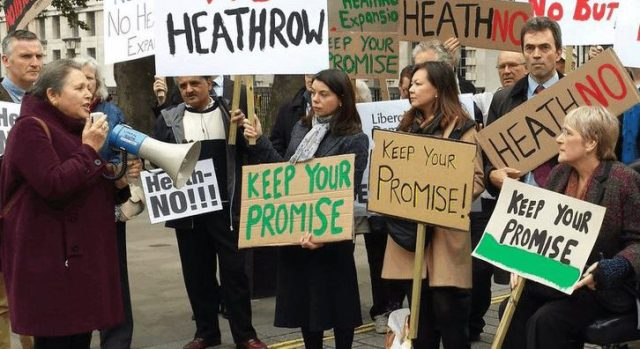 Heath-No really? Tom Brake, to the right of picture, has supported a polluting incinerator in his own constituency, but opposes a third runway at Heathrow in Richmond Park