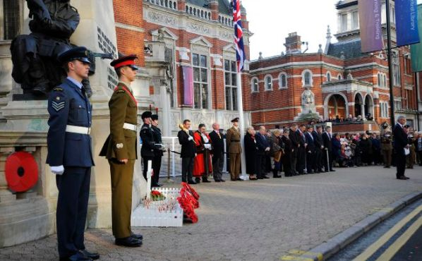 A one minute's silence is observed mark the Croydon tram incident, by the cenotaph in Croydon, London.