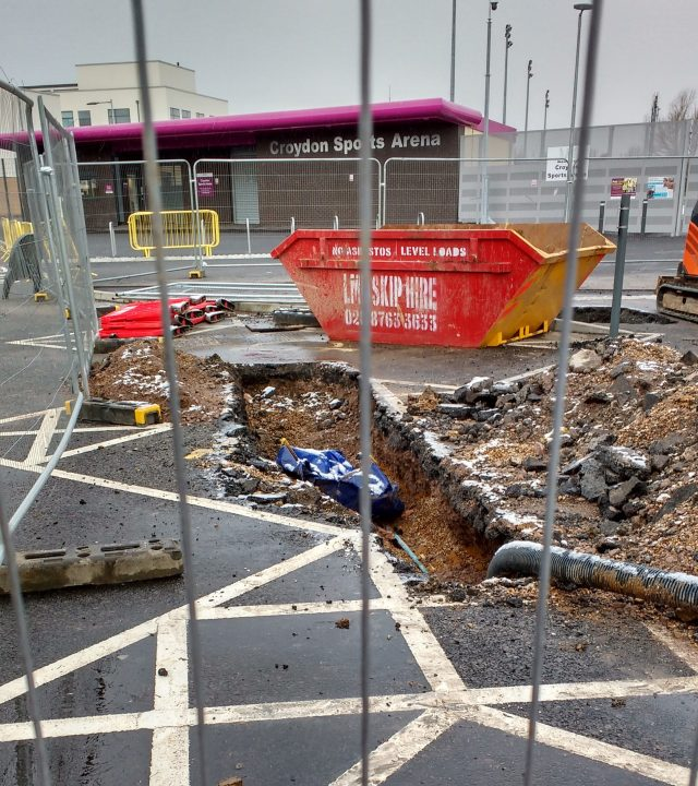 The state of the Croydon Arena car park this week - just a few months after the contractors left the site with their work 'finished'