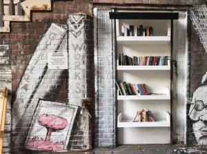 Lots of empty shelves on the Surrey Street Book Exchange