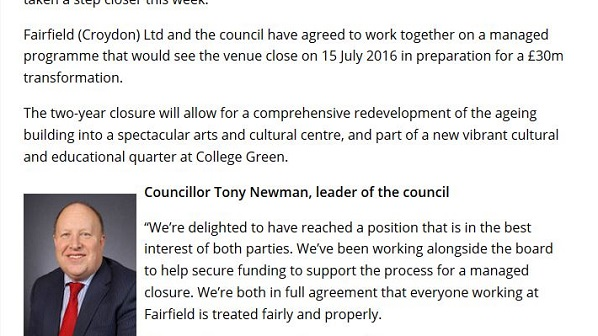 February 2016, and Croydon Council leader Tony Newman is promising delivery of the refurbished Fairfield Halls in