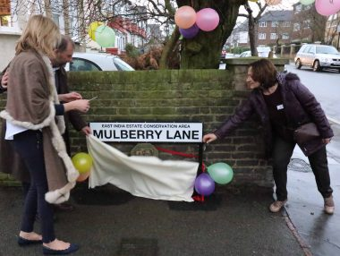 The unveiling of one of the special East India Conservation Area road signs last month