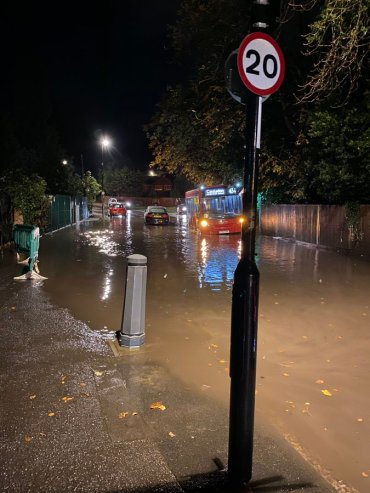 Flooding on Kenley Lane 17Oct2019