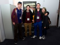 Four happy film students. It´s their 2nd time at the festival and they will be looking around here for few days.